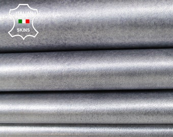 METALLIC SILVER DISTRESSED bluwish Italian Lambskin Lamb Sheep leather material for sewing crafts 3 skins hides total 14sqf 0.9mm #A6132