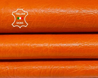 SHINY PUMPKIN ORANGE grainy rough vegetable tan Italian goatskin goat leather skin skins hide hides 5sqf 0.9mm #A8393