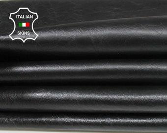 COATED BLACK CRINKLED Antiqued crinkle Italian genuine Lambskin Lamb Sheep leather 2 skins hides total 14sqf 1.0mm #A7122