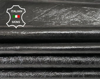 Pack 2 shades PATENT BLACK CRINKLED crinkle  shiny Italian genuine Lambskin Lamb Sheep leather 2 skins hides total 15sqf 0.6-0.9mm #A7502