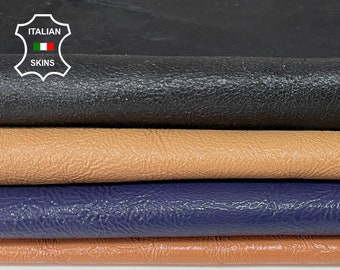 PACK 4 colors nude blackbeige blue shiny crinkle Italian genuine Lambskin Lamb leather 4 skins hides total 20sqf 0.9mm #A7508