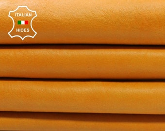 4 skins TANGERINE ORANGE cracked crackled vintage look Italian genuine Lambskin leather 4 hides total 25sqf 1mm #A4267