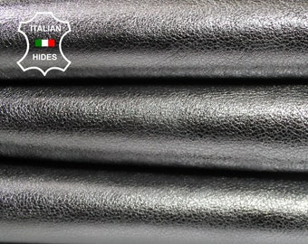 METALLIC ANTIQUE SILVER rough chrome Italian Goatskin Goat  leather skin hide skins hides 4+sqf 1.0mm #A4392