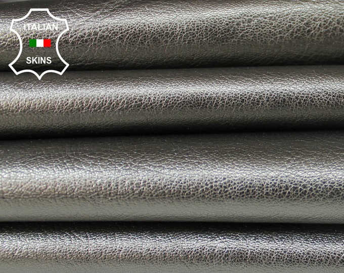 METALLIC PEWTER GRAY rough Italian Goatskin Goat leather material for sewing craft crafts skin hide skins hides 4-5sqf 1.2mm #A6082