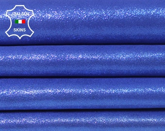 PEARLIZED BLUE SUEDE Shimmer Italian Lambskin Lamb Sheep Leather 2 skins hides total 5sqf 0.6mm #A5708