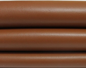 MEDIUM BROWN smooth Italian genuine Lambskin Lamb Sheep leather skins hides 0.5mm to 1.2mm