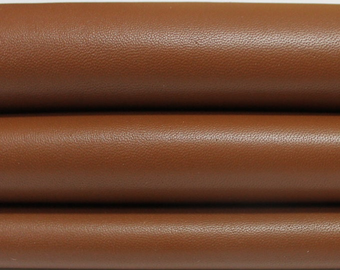 MEDIUM BROWN smooth Italian genuine Lambskin Lamb Sheep leather skins hides 0.5mm to 1.5mm
