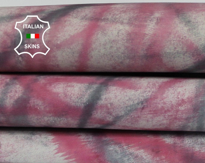 RASPBERRY & GREY distressed on gray off white strong Italian Goatskin Goat leather skin skins hide hides 4sqf 0.5mm #A6496