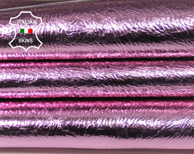 METALLIC PINK CRINKLE crinkle foiled coated Italian Lambskin Lamb Sheep Leather skin hide skins hides 4sqf 0.9mm #A5737