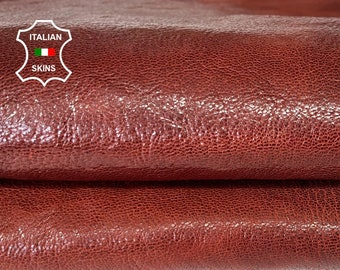 COGNAC BROWN ANTIQUED rough shiny vegetable tan thick strong Italian goatskin goat leather skin skins hide hides 5sqf 1.5mm #A8099