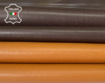 TAN & DARK BROWN soft Italian lambskin lamb sheep leather skin hide hides pack 2 skins total 10sqf 0.3-0.6mm #A8329