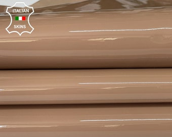 NUDE PATENT SHINY wet look Italian calfskin calf cow strong leather hide hides skin pack 2 skins total 6sqf 1.1mm #A8213