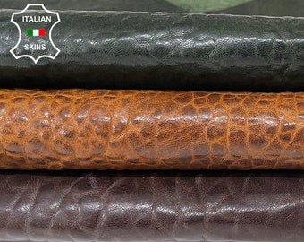 BUBBLY GRAINY DARK brown, camel, bottle green antiqued rustic look vegetable tan lambskin sheep leather 3 skins total 9sqf 1.5mm #A8306