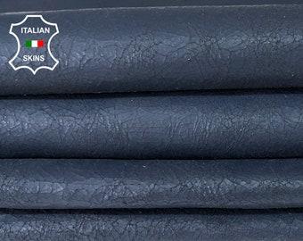 DARK BLUE CRACKLED antiqued rustic Italian goatskin goat leather hide skin hides pack 2 skins total of 14sqf 0.9mm #A8119