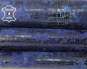 BLUE TEJUS REPTILE  print distressed antiqued shiny soft Italian Lambskin Lamb Sheep leather skin skins hide hides 4+sqf 0.8mm #A8513