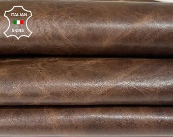 BROWN ANTIQUED RUSTIC look vegetable tan Italian lambskin lamb sheep leather hides hide skin skins 8sqf 1.0mm #A8297