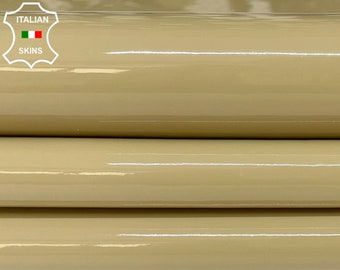ARMY KHAKI BEIGE patent shiny wet look Italian calfskin calf cow leather hide hides skin pack 2 skins total 9sqf 1.0mm #A8250