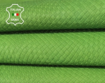 WOVEN LIME GREEN natural green textured vegetable tan naked Italian Goatskin Goat Leather skin skins hides 4-7sqf 0.8mm #A6413