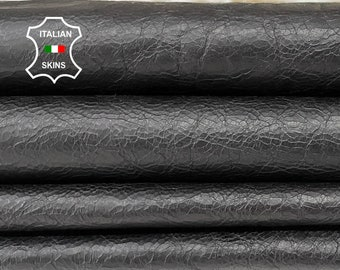 BLACK CRINKLE ANTIQUED vegetable tan Italian goatskin goat leather skin skins hide hides 8sqf 0.7mm #A8447
