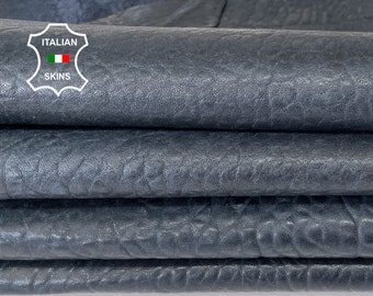 DARK BLUE BUBBLY grainy vegetable tan thick Italian lambskin lamb sheep leather hide hides pack 2 skins total of 12sqf 1.7mm 1.8mm #A8150