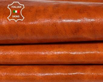 ORANGY COGNAC BROWN fire shiny vintage look vegetable tan Italian Lambskin Lamb Sheep leather skin skins hide hides 5sqf 0.7mm #A8493