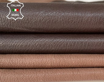 BROWN PACK 2 SKINS different shades rough grainy vegetable tan soft Italian goatskin goat leather pack 2 skins total 9sqf 0.9mm #A8461