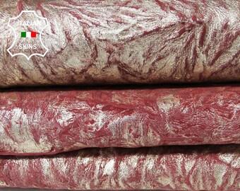 METALLIC GOLD WASHED wrinkle vintage red look wrinkled rough Goatskin Goat leather skin hide skins hides 2 skins hide total 10sqf 1.0mm