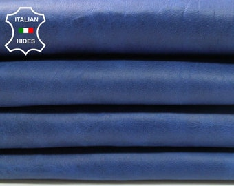 4 skins BLUE ANTIQUED cracked crackled vintage look Italian genuine Lambskin leather 4 hides total 26sqf 0.8mm #A4265