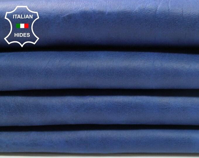 4 skins BLUE ANTIQUED cracked crackled vintage look Italian genuine Lambskin leather 4 hides total 26sqf 0.8mm #A4265