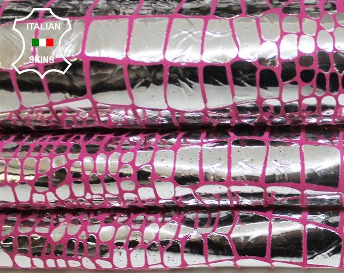 METALLIC SILVER CROCODILE on pink Italian Goatskin Goat leather material for crafts skin skins hides 3sqf 0.7mm #A6332