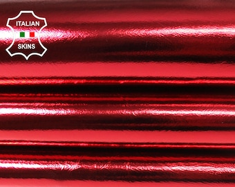 METALLIC CHRISTMAS RED Italian genuine lambskin Lamb Sheep leather skin skins hide hides 5-7sqf 0.8mm
