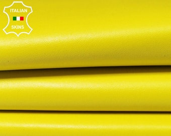 BRIGHT YELLOW Italian genuine Lambskin Lamb Sheep leather skins hides 0.5mm to 1.2mm