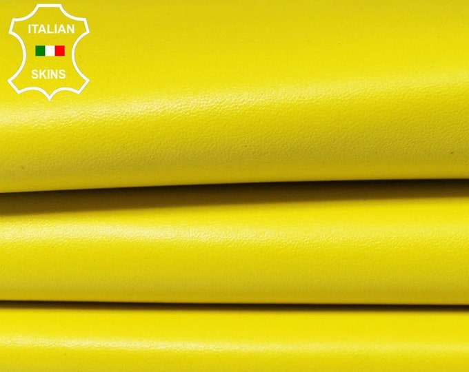 BRIGHT YELLOW Italian genuine Lambskin Lamb Sheep leather skins hides 0.5mm to 1.2mm
