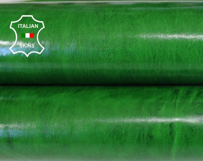 GREEN ANTIQUED SHINY patent vegetable tan veg tanned Italian Goatskin Goat leather skin hide skins hides 5sqf 0.6mm #A6487