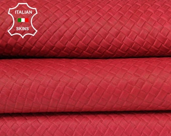 WOVEN RED NAKED natural textured embossed vegetable tan Italian Goatskin Goat Leather skin skins hide hides 6-7sqf 0.8mm #A6641
