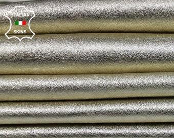 METALLIC LIGHT GOLD Platinum platin Italian Lambskin Lamb Sheep leather skin hide skins hides fabric for sewing craft 4-8sqf 1.1mm #A6016