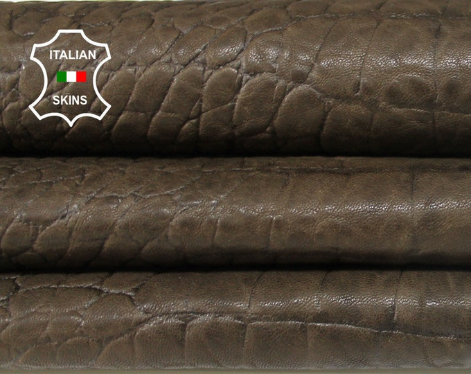ARMY OLIVE CROCODILE embossed textured vegetable tan Italian Lambskin Lamb Sheep leather material for sewing skin skins 6sqf 0.8mm #A6358
