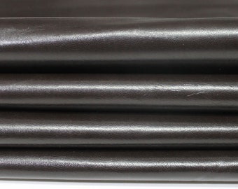 CHOCOLATE BROWN SHINY Italian Goatskin Goat genuine leather 7skins hides total 25sqf 0.5mm #A4630