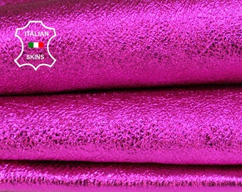 CRISPY METALLIC FUCHSIA washed hot pink textured fuschia thick Italian Goatskin Goat leather skins hides skin hide 5-6sqf 1.2mm #A6869