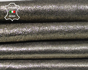 METALLIC CRISPY PEWTER rough Italian Lambskin Lamb Sheep leather 3 skins hides total 10sqf 1.0mm #A5747