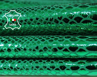 METALLIC GREEN SNAKE print emerald texture Italian textured Goatskin leather material for sewing crafts skin skins hides 2+sqf 0.7mm #A6261