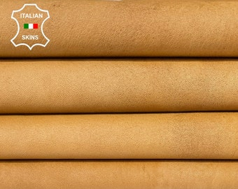 SANDY TAN LIGHT brown natural vintage look vegetable tan thick Italian lambskin lamb sheep leather hides 2 skins total 12sqf 1.2mm #A8292