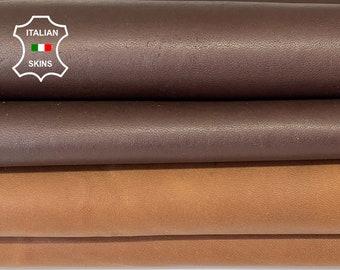 BROWN VEGETABLE TAN Italian goatskin goat leather hide hides skin total 2 skins 15sqf 1.0mm #A8177