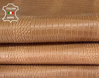 NATURAL SAND BROWN crocodile embossed textured Italian thick strong calfskin calf leather skin hide 4 skins total 44sqf 1.2mm #A8024