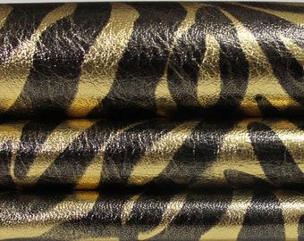 METALLIC GOLD ZEBRA foiled soft genuine Italian lambskin lamb sheep leather for sewing skin skins hide hides 0.6mm