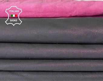 ANTIQUED FUCHSIA coated distressed Italian Lambskin Lamb Sheep leather skin hide skins hides 8sqf 0.6mm #A7823
