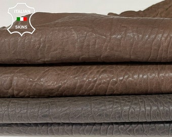 PACK 2 SHADES BROWN Bubbly grainy thick Italian Lambskin Lamb sheep leather 2 skins total 10sqf 1.5mm #A7674