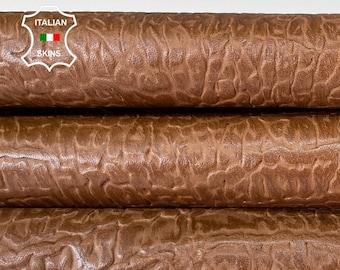 CAMEL BROWN EMBOSSED textured distressed vintage look vegetable tan Italian goatskin goat leather skin hide skins 6sqf-8sqf 0.7mm #A8340