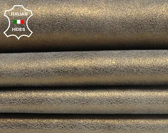 METALLIC BRASS BRONZE Old Gold cracked crackle vintage look stiff Italian genuine Goatskin goat leather skin hide skins hides 1.2mm #AMB56