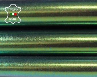 METALLIC HOLOGRAPHIC GREEN purple hue iridescent genuine Italian Calfskin Calf leather skin hide skins hides 4-8sqf 1.0mm #A6760
